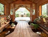 Wood cabin pond