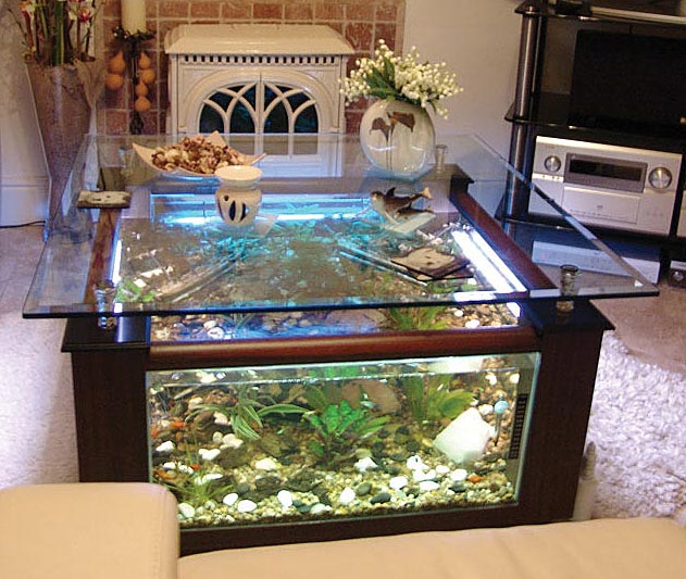The home of many fish for Fish tank table